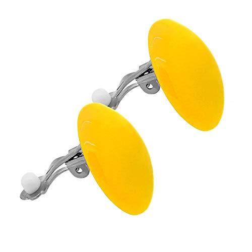 tumundo Set di 2 o 10 Pezzi / 1 Pezzo Clip Orecchio Falso Fake Orecchino Ragazza Grande XXL Acrilico Palla Tondo Donne, variante:giallo