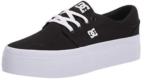 DC womens Trase Platform Skate Shoe, Black/White, 5 US