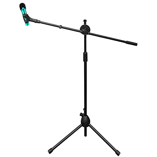 DoubleBlack Pied de Micro avec Perche, Support de Microphone avec Clip Librement Réglable, Hauteur Réglable de 74,5 cm à 130 cm, Noir