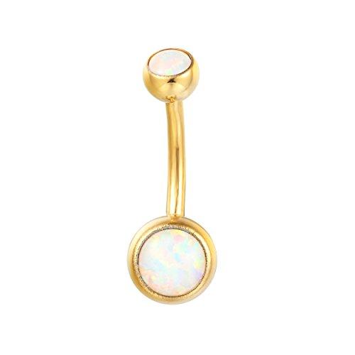 Karisma Bauchnabel Piercing Titan G23 Gold beschichtet Banana 5/8mm Kugeln Opal - Weiss.10mm