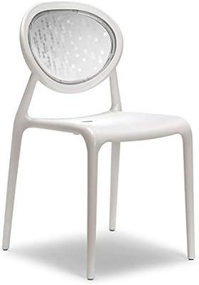 Scab 6 Chaises blanches design avec dossier transparent