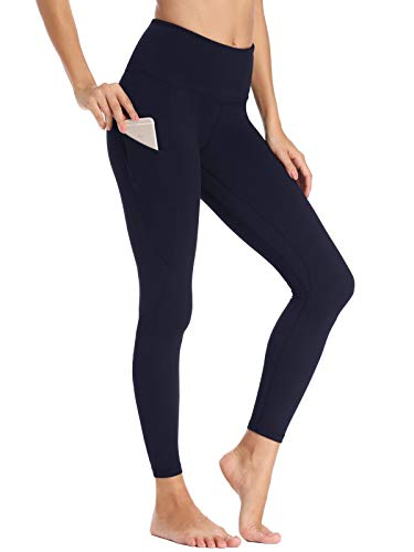 Willit Women's Fleece Lined Leggings Winter Yoga Running Leggings with Pockets High Waisted Pants Workout Thermal Tights Navy Blue XS