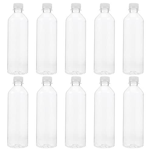 Angoily 10 Pcs Leere Kunststoff Saft Flaschen Reusable Klar Groß Getränke Behälter mit Originalitäts Deckel für Juic Milch Und Andere Getränke (Transparent)
