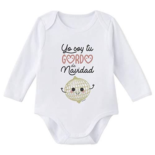 SUPERMOLON Body bebé manga larga Yo soy tu gordo de Navidad Blanco algodón para bebé 9-12 meses