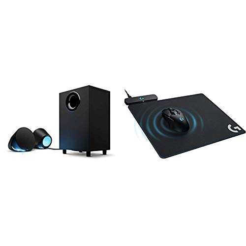 Logitech G560 LIGHTSYNC PC Gaming Speakers with Game Driven RGB Lighting & G Powerplay Wireless Charging System for G703, G903 Lightspeed Wireless Gaming Mice, Cloth or Hard Gaming Mouse Pad