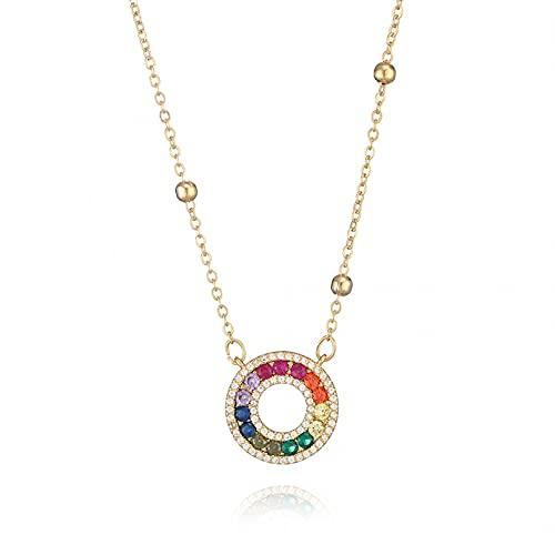 WDBUN Collar Colgante Joyas Personalidad Color Diamante círculo Colgante Collar Super Flash Exquisito Collar Rojo joyería cumpleaños Fiesta Regalo
