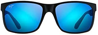 Maui Jim unisex adult Red Sands Sunglasses Matte Black Blue Hawaii Polarized Medium US product image