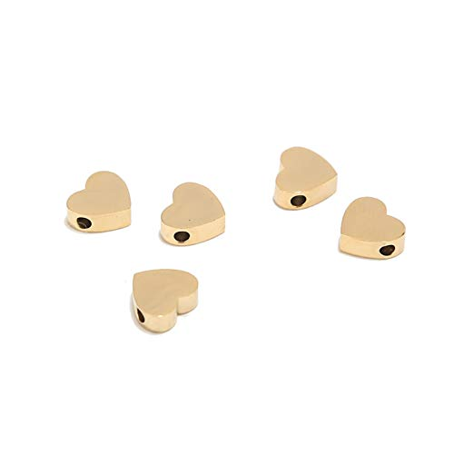 DAXINYANG Colorful Linght 20pcs/lot 9x8mGold Tone Stainless Steel Love Shape Charms Pendants Crafting DIY Necklace Bracelet For Jewelry Making Accessories