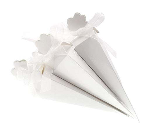 JZK 50 Bianco cono portariso scatola portaconfetti scatolina bomboniere segnaposto per matrimonio compleanno battesimo comunione nascita laurea Natale