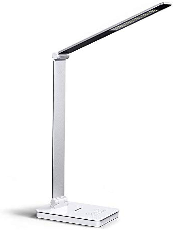 NBWS LED Schreibtischlampe 10W Augenpflege Tischlampe mit USB-Ladeanschluss 6 Dimmbare Ebenen und 3 Farbmodi Berührungsempfindliche Steuerspeicherfunktion Faltbare Nachttischlampe