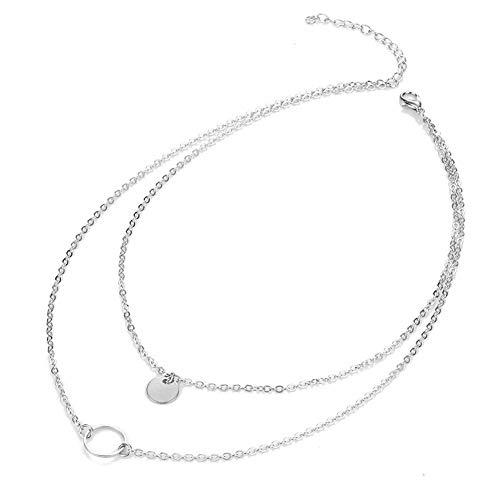 Halskette für Frauen und Modeschmuck, schlichter runder Anhänger, Doppel-Halskette, Schmuckset, Halsketten für Frauen