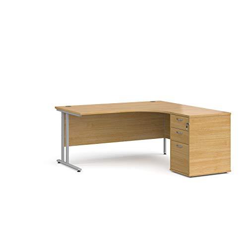 Mr Office Furniture Ltd Maestro 25 right hand ergonomic desk, silver frame – with desk high pedestal bundle (Oak, 1600)