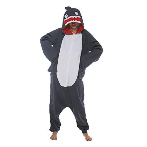FORLADY Animal Pijamas Adulto Pijama de Tiburón Disfraz de Cosplay de Halloween para Hombres y Mujeres