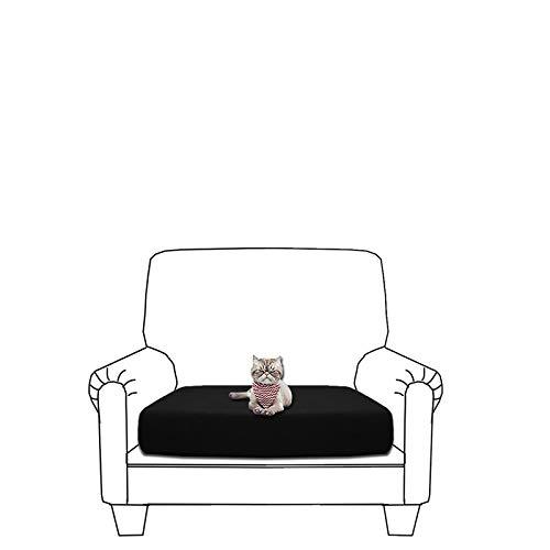 GETMOREBEAUTY Funda de cojín elástica para sofá, suave y flexible, impermeable, funda para cojín de sofá, funda para cojín para muebles (negro, silla)