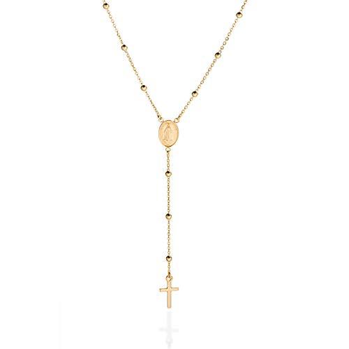 Quadri - Collar de oro de 18kt sobre Plata 925 con cuentas de rosario y cruz en forma de Y para mujeres y hombres - Collar de 48 cm. Certificado Made in Italy