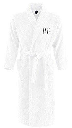 Monogrammliebe Bademantel aus 100% Baumwolle • Zwei aufgesetzte Seitentaschen • Passender Gürtel (Kristina L/XL Weiss)