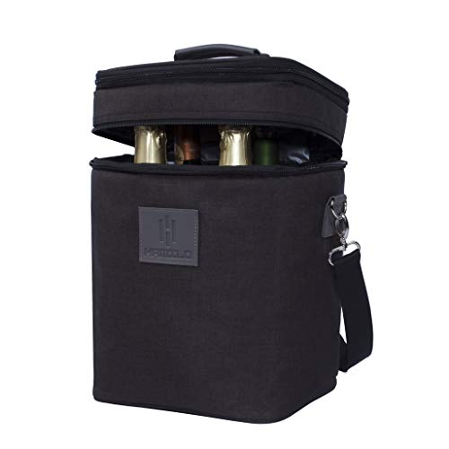 HAMILO 4 Bottle Wine Carrier, Waterproof and Leakproof Wine Tote Bag with Expandable Zipper and Padded Shoulder, Insulated Champagne Cooler Purse with Corkscrew Opener Holder (Black)
