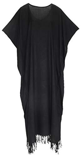 Beautybatik Black Women Caftan Kaftan Loungewear Maxi Plus Size Long Dress 3X