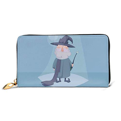 Women's Long Leather Card Holder Purse Zipper Buckle Elegant Clutch Wallet, Good Wizard Holding A Magic Wand In His Hand and Smiling On Blue Background,Sleek and Slim Travel Purse