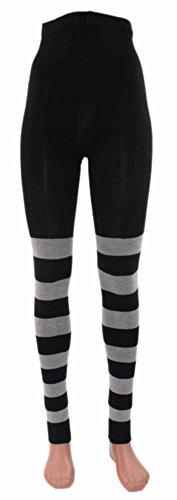 Shimasocks Ringel-Leggings Bio Baumwolle, Größe:48/50, Farben alle:schwarz-graumeliert geringelt