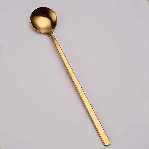 Cuchara de café retro con cabeza redonda, cuchara de acero inoxidable, cuchara de mango largo, cuchara cuadrada para el hogar, cocina, vajilla (color: marrón, tamaño: 13,4 cm)