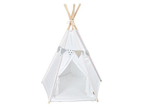 KraftKids Spielzelt-Tipi Uniweiss, Indianer-Zelt zum Spielen für Kinder, Kleinkinder und Babys, inkl. Spielmatte