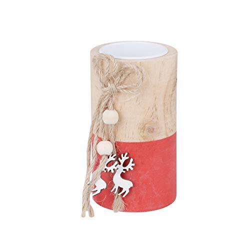 LIOOBO weihnachtskerzenhalter teelicht kerzenhalter mit holzrentier Ausschnitten Weihnachts Desktop Dekoration Ornament größe m runde Form