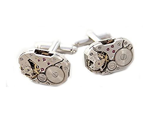Steampunk Gemelos rectangulares con diseño de reloj, gemelos industriales