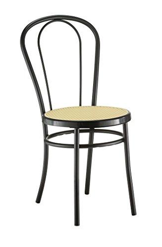 Nr. 4 sedie Bistrot in Metallo verniciato nero e sedile tipo paglia di vienna