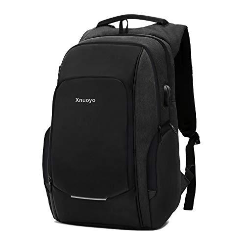 Anti-Diebstahl Laptop Rucksäcke 15.6 Zoll Handtasche Herren Damen Schulrucksack mit Schloss, USB Anschluss und Headphone Port, Schultertasche mit Croßem Laptopfach und Zubehörfächer (Schwarz)