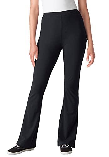Woman Within Women's Plus Size Stretch Cotton Bootcut Yoga Pant - 3X, Black