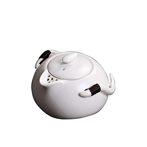CHHU Weiße Teekanne des Monats Mit Gefiltertem Antikem Einhand-Topf, Keramik-Teekanne Für Den Haushalt,Archaize,Teekanne