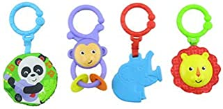 Fisher-Price Deluxe Kick 'n Play Piano Gym FGG45 - Replacement Toys - Includes 4 Parts - Panda Crinkle, Lion Rattle, Monkey Rings & Elephant Teether