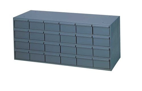 "Durham 007-95 Gray Cold Rolled Steel Storage Cabinet, 33-3/4"" Width x 14-3/8"" Height x 11-5/8"" Depth, 24 Drawer"