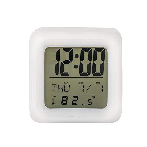 Lancoon Reloj Despertador para Niños - Reloj con Cubo De Luz Suave De 7 Colores, Pantalla Grande Y Snooze - AC04