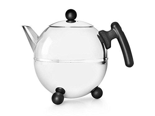 doppelwandige Teekanne Duet® Bella Ronde Edelstahl glänzend schwarze Beschläge 1,5 ltr.