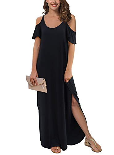 GRECERELLE Women's Summer Casual Loose Long Dress Strapless Strap Cold Shoulder Short Sleeve Split Maxi Dresses with Pocket Black-M