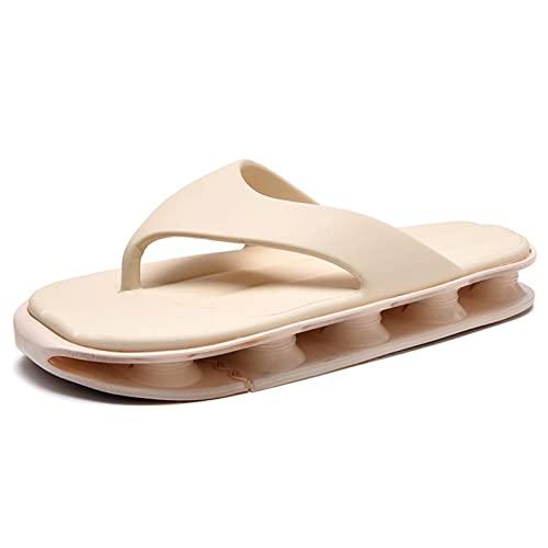 Cacagie Zapatillas de baño para hombre y mujer, sandalias de verano, a rayas, de Cloudyzz, antideslizantes, tallas 38-45, beige, 44 EU