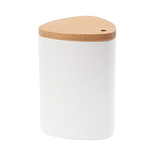 Boner Eenvoudige houten tafelblad tandenstoker container opbergdoos met deksel, wit