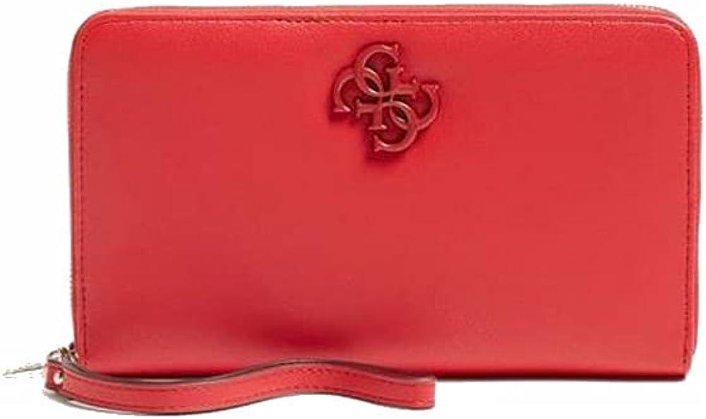 Guess noelle, portafoglio in ecopelle colore rosso da donna,  porta carte di credito con portamonete SWVE7879600