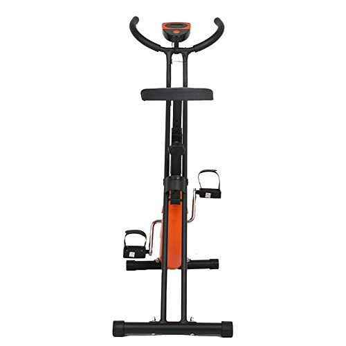 Erru Bicicleta Estática Bicicleta Vertical de Ciclismo de Salud Femenina Plegable, Mini Bicicletas de Ejercicio de Interior Gimnasio Ciclo con Monitor Digital y Asiento Grande, Cargar 100 Kg