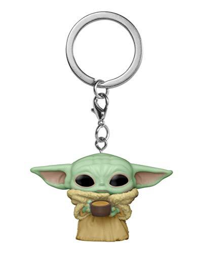 Horror-Shop Baby Yoda The Child mit Tasse Funko Pocket POP! Schlüsselanhänger