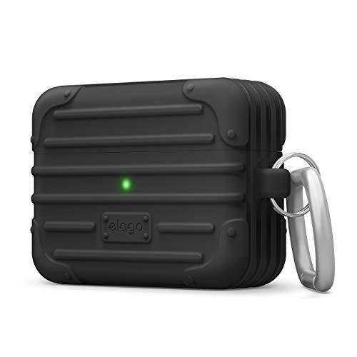 elago Suit Funda Compatible con AirPods Pro Funda – LED Visible, Funda de Premium Silicona, Forma de Maleta (Negro)