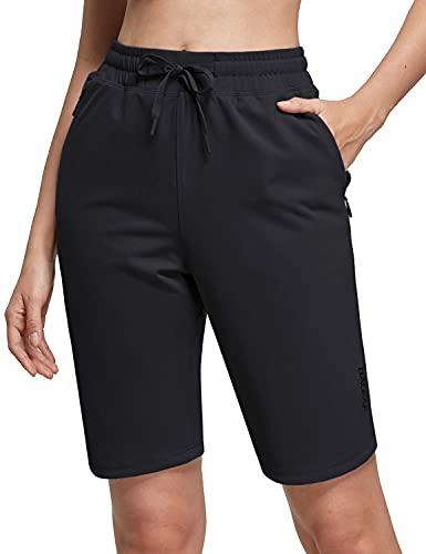 BALEAF Women's 10' Athletic Bermuda Shorts Long Walking Shorts with Elastic Waist for Summer Petite Black M Size(8-10)