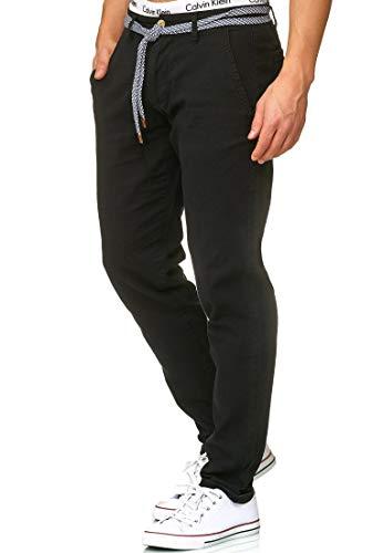 Indicode Herren Haverfield Stoffhose aus 55% Leinen & 45% Baumwolle m. 4 Taschen inkl. Gürtel | Lange sportliche Regular Fit Hose Baumwollhose Leinenhose Freizeithose f. Männer Black XXL