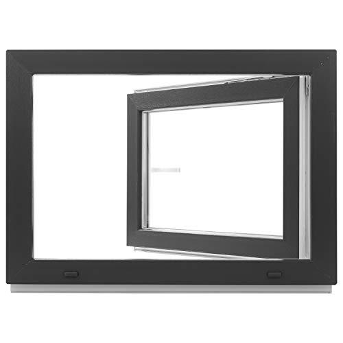 Kellerfenster - Kunststoff - Fenster - innen weiß/außen anthrazit - BxH: 80 x 40 cm - 800 x 400 mm - DIN Rechts - 2 fach Verglasung - 60 mm Profil