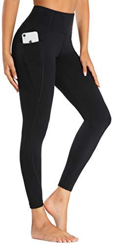 Beelu Damen Yoga Leggings Hohe Taille Blickdicht Lange Sporthose Frauen Fitnesshose mit Taschen(Schwarz XS)
