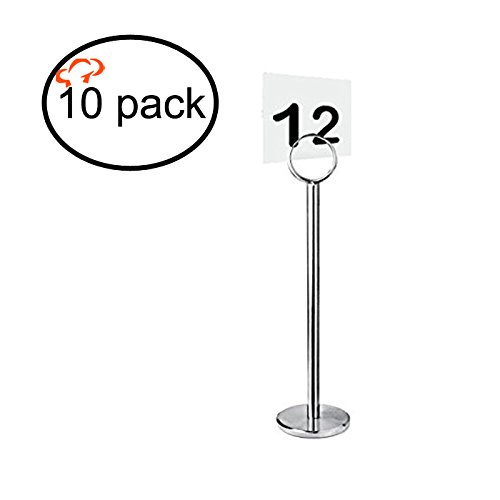 """TigerChef TC-20196 Table Number/Card/Menu Holder Table Stand, 12"""" Size (Pack of 10)"""