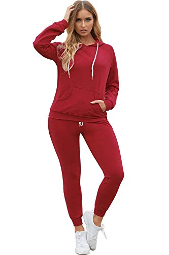 Fixmatti Women Two Piece Tracksuit Active Hooded Top Bottom Sweatpants Set Red L