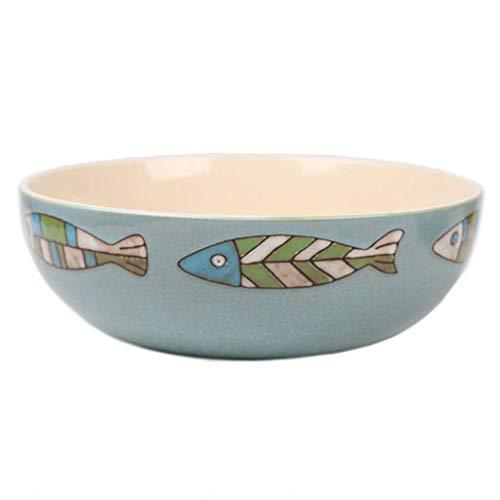 HUAHUA Bowls Pintada a mano del tazón de cerámica de época tazón Cubiertos estilo europeo pequeña Los pescados de cerámica ensalada de frutas Plato principal Rice Soup Bowl 26x9cm